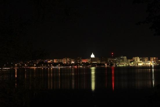 madison skyline at night in madison wisconsin
