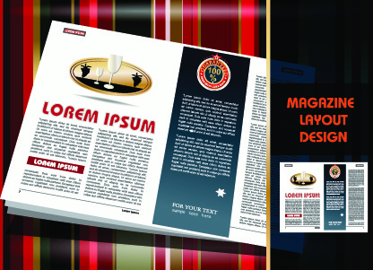 magazine pages and cover layout design vector