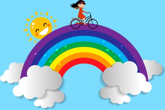 magic background little girl riding bicycle rainbow icons