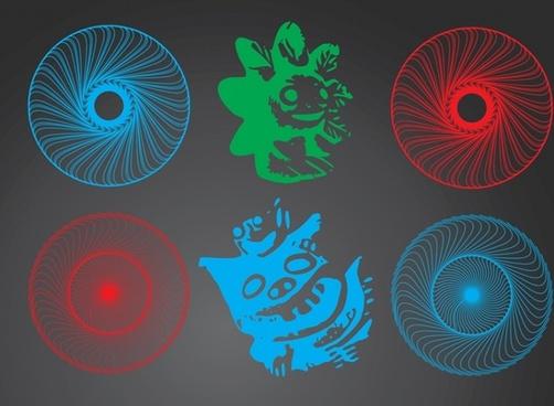 Magic Circle and Graphic Icons Set