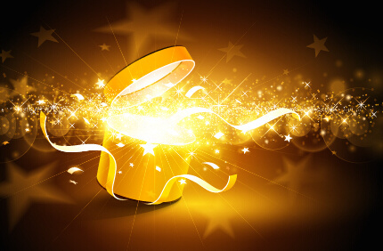 magic light with christmas gift box vector