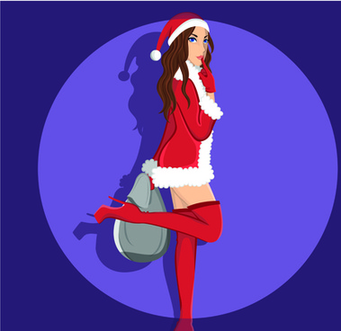 maiden and xmas costume vector