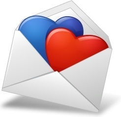 MailEnvelope Hearts BlueRed