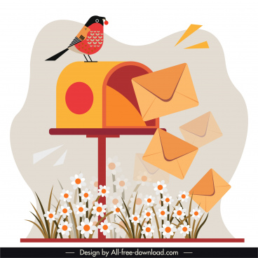 mailing background template mail post flowers bird sketch