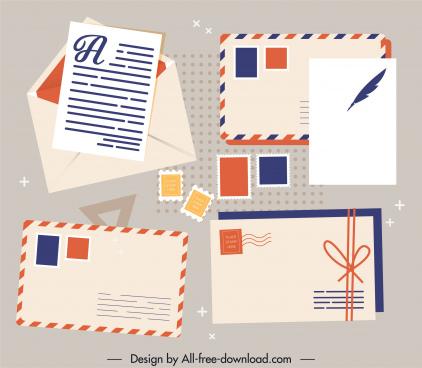 mailing design elements envelopes stamps sketch classic design