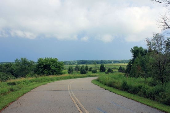 main road view at richard bong recreation area wisconsin
