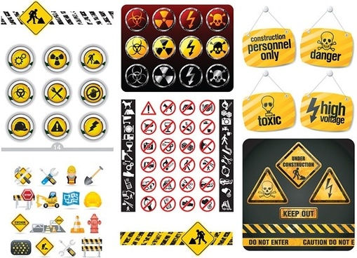 maintenance and repair series of signs vector