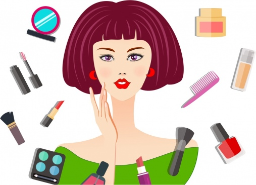 makeup advertisement woman accessories icons cartoon design