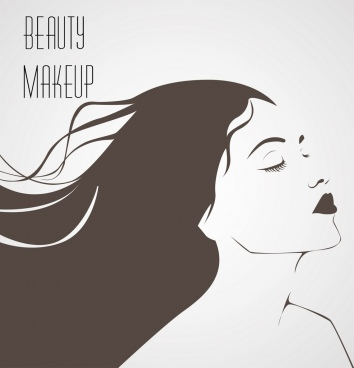 makeup banner attractive woman sketch black white design