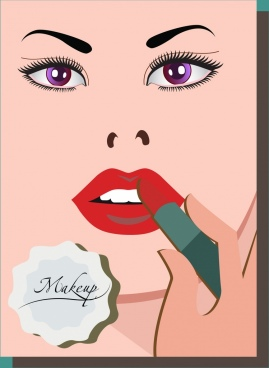 makeup banner woman face sketch lipstick icon