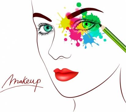 makeup banner woman face sketch water color ornament