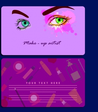 makeup card template violet facial background vignette accessories