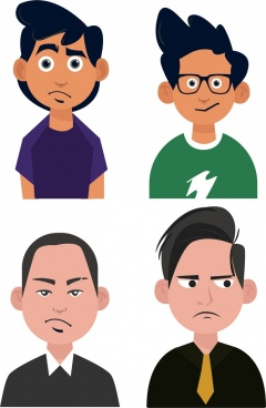 male avatar icons boys men portrait colored cartoon