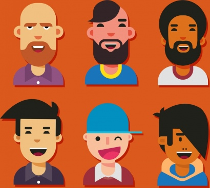 male avatar icons smile emotion colored cartoon design