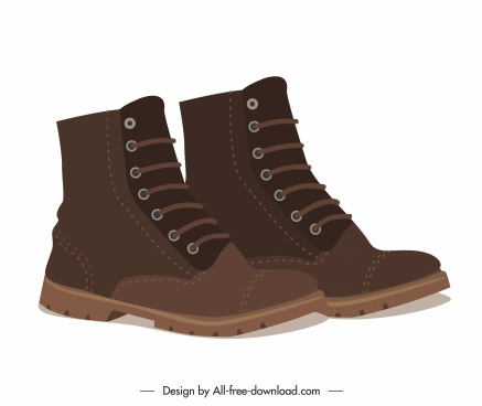 male boots icons 3d design elegant leather decor