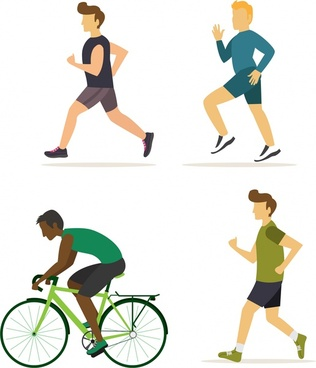 male doing exercise icons with flat colored design