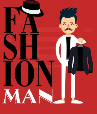 male fashion background elegant man icon texts decor