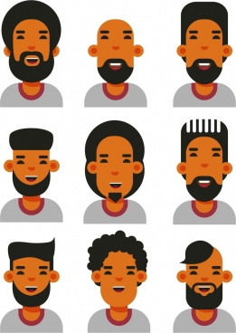 male hairstyle icons colored cartoon design