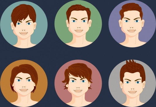 male hairstyles collection circle isolation colored cartoon