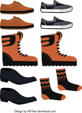 male outfits icons colored flat shoes socks sketch