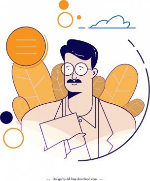 man avatar icon classical design cartoon character sketch