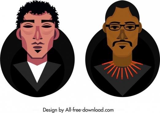 man avatar templates dark design colored cartoon sketch