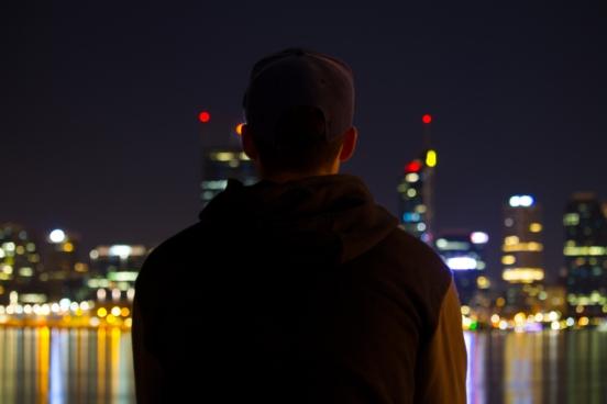 man enjoying city view