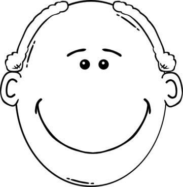 Man Face World Label Outline clip art