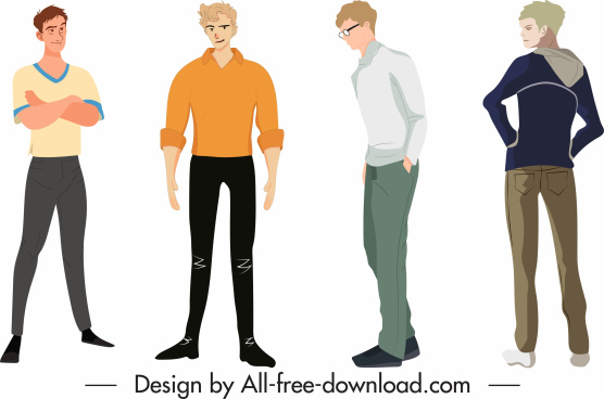 man fashion templates casual style cartoon characters