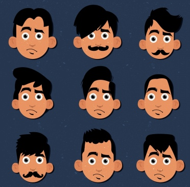 man hairstyles collection portrait avatar colored cartoon