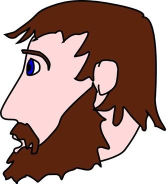 Man Head Side Beard Mustache clip art