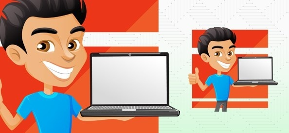 man holding laptop vector character