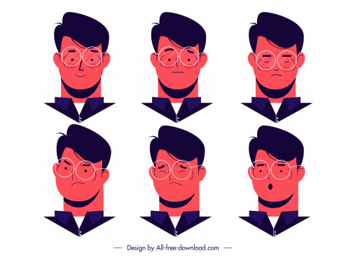 man icons avatars emotions sketch cartoon design