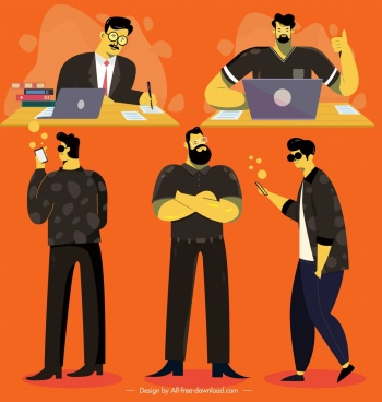 man icons working daily lifestyle decor cartoon characters