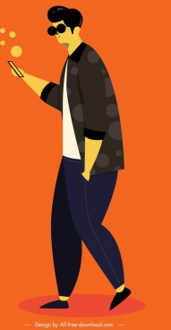 man lifestyle icon colored cartoon character sketch