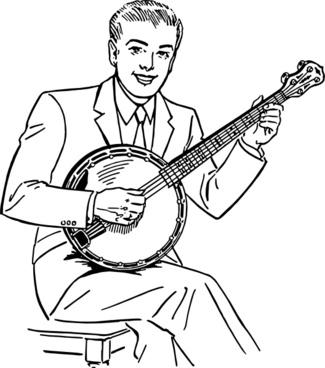 Man Playing Banjo clip art