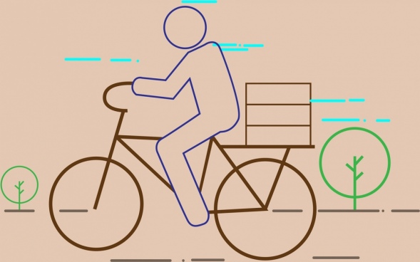 man riding bicycle theme colored flat sketch