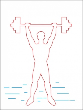 man taking gym icon silhouette outline