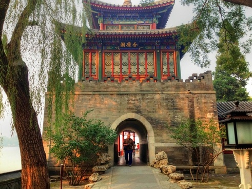man walking through the doorway in beijing china