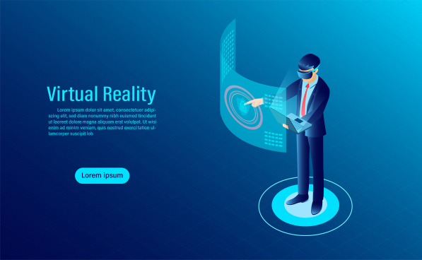 man wearing goggle vr with touching interface into virtual reality world future technology flat isometric vector illustration