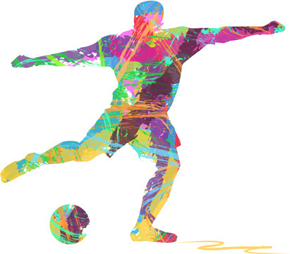 man with football watercolor vector