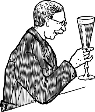 Man With Lager Glass clip art