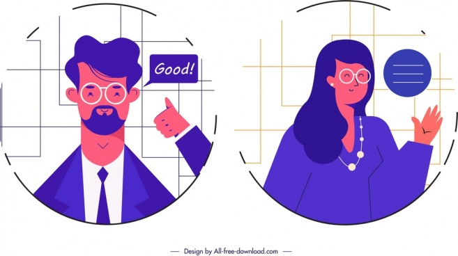 man woman avatar templates violet design cartoon characters