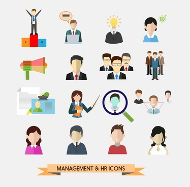 management and human resources icons in flat design