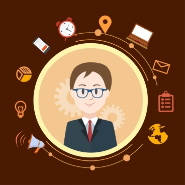 manager conceptual background man avatar business icons decor