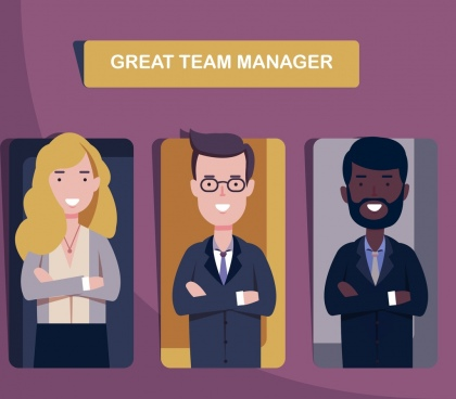 manager team background staffs icons cartoon characters