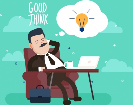 manager work background businessman lightbulb icons cartoon design