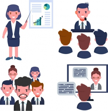 manager work background human icons cartoon characters
