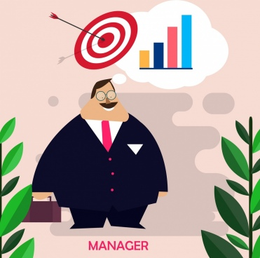 manager work background man arrow target chart icons