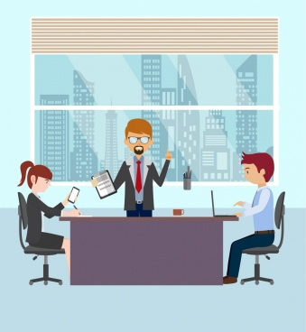 manager work background working people icon cartoon character